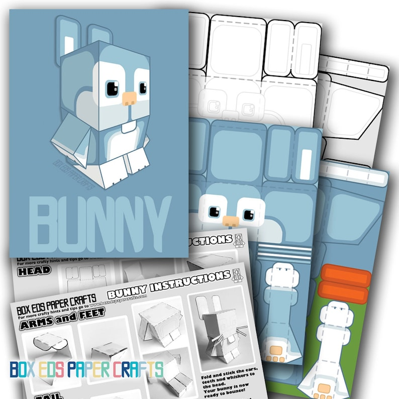 Paper Craft Activity Blue Bunny Rabbit  80% of SALES DONATED image 0