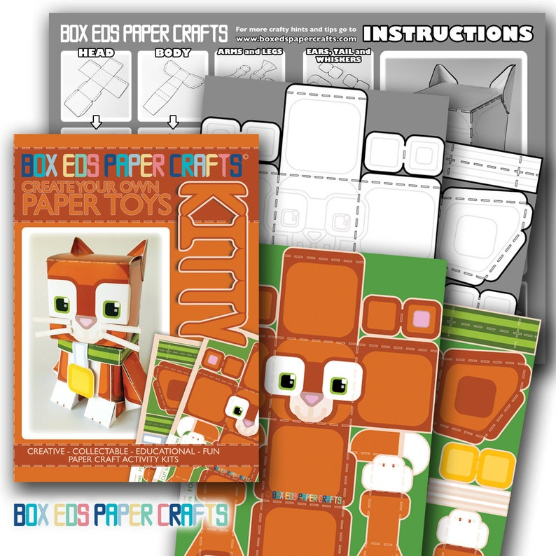 Ginger Orange Cat D.I.Y Paper Printable Craft  Super paper image 0