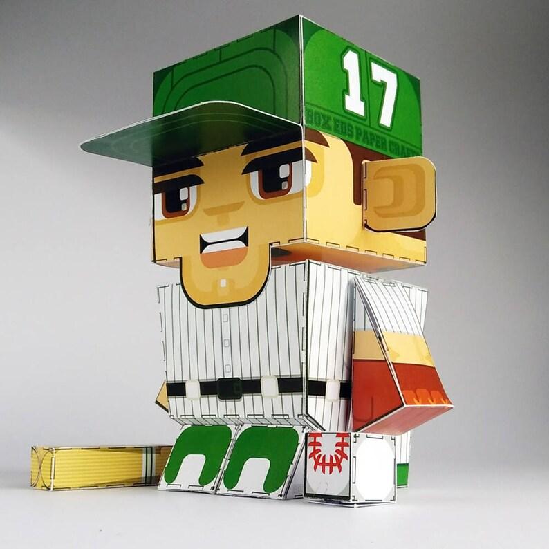 Printable Paper Craft Activity Green Baseballer 80% of SALES image 0