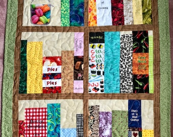 Book Shelves Embroidered And Pieced Cookbook Quilted Wall Hanging 25 X 36