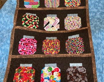 """Penny Candy Cubbard Pieced Throw Quilt, 39"""" x 53"""""""