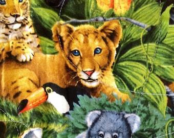"""Wild Baby Animals Pieced Throw Quilt 41"""" x 49"""""""