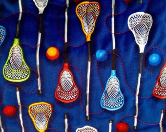 """Lacrosse Sticks and Balls Pieced Throw Quilt, 39"""" x 53"""""""