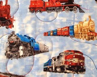 """SALE!! Trains Pieced Throw Quilt, 42"""" x47"""""""