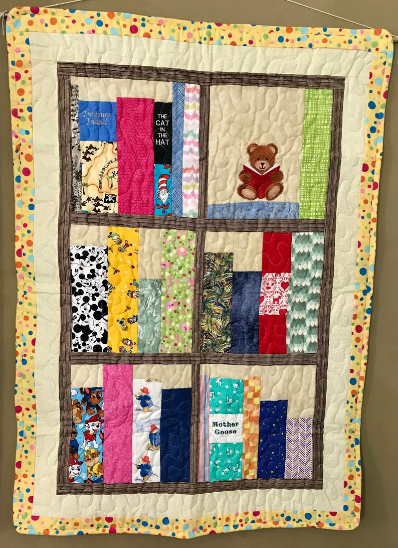 Children\u2019s Book Shelves Embroidered and Pieced Quilted Wall Hanging 26\u201d x 36\u201d