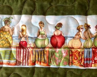 "Fruit Ladies Pieced Throw Quilt, 45"" x 61"""