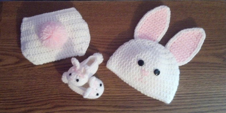 ON SALE Crochet Bunny Set Hat Slippers and Diaper Cover image 0