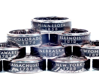 Any State Quarter Coin Ring Size 4.5-13.5