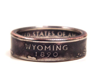 Size 7 1/2 Wyoming State Quarter Coin Ring