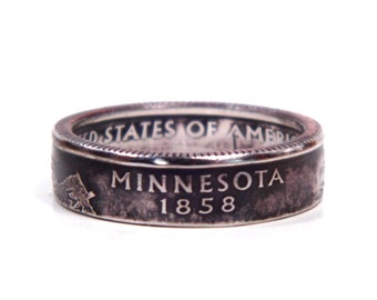 Size 8 1/2 Minnesota State Quarter Coin Ring
