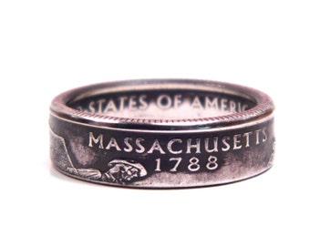 Size 8 Massachusetts State Quarter Coin Ring