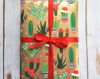 christmas cactus gold foil christmas wrapping paper holiday gift wrap 10 ft x 2 ft 3048 m x 60 m roll cactus dress for holiday fun