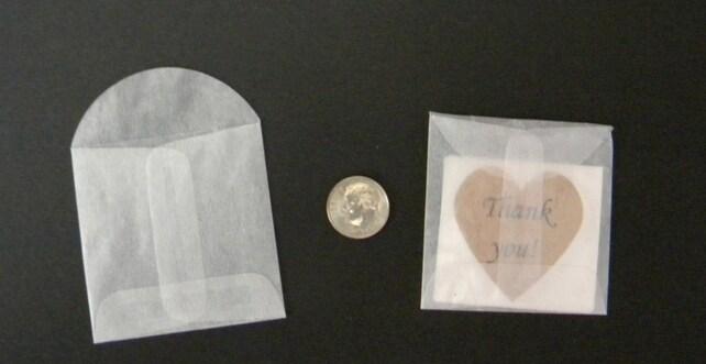 """100, 2 1/8 x 2 1/8"""" Glassine Envelope, Mini Envelope, Small Envelope, Ticket Envelope, GL08"""
