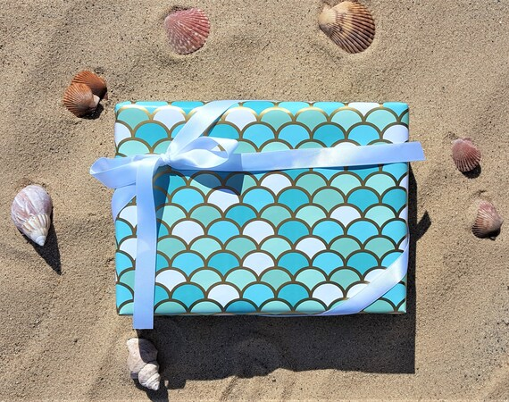 Blue Aqua Green And Gold Mermaid Scales Gift Wrap 10 Ft Etsy