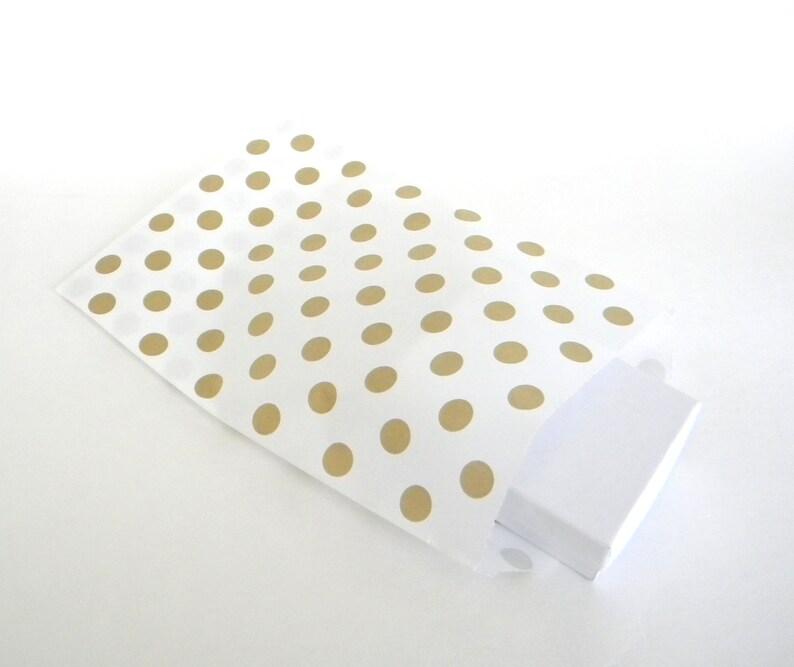 25 Metallic Gold Polk Dot on White Paper Bags Party Favor Bag 5 x 7.5 Candy Buffet Bag Gift Bag Wedding Favor Bags