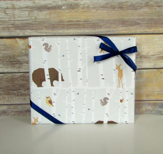 Forest Friends Wrapping Paper 2 Ft X 10 Ft Roll Baby Shower Gift