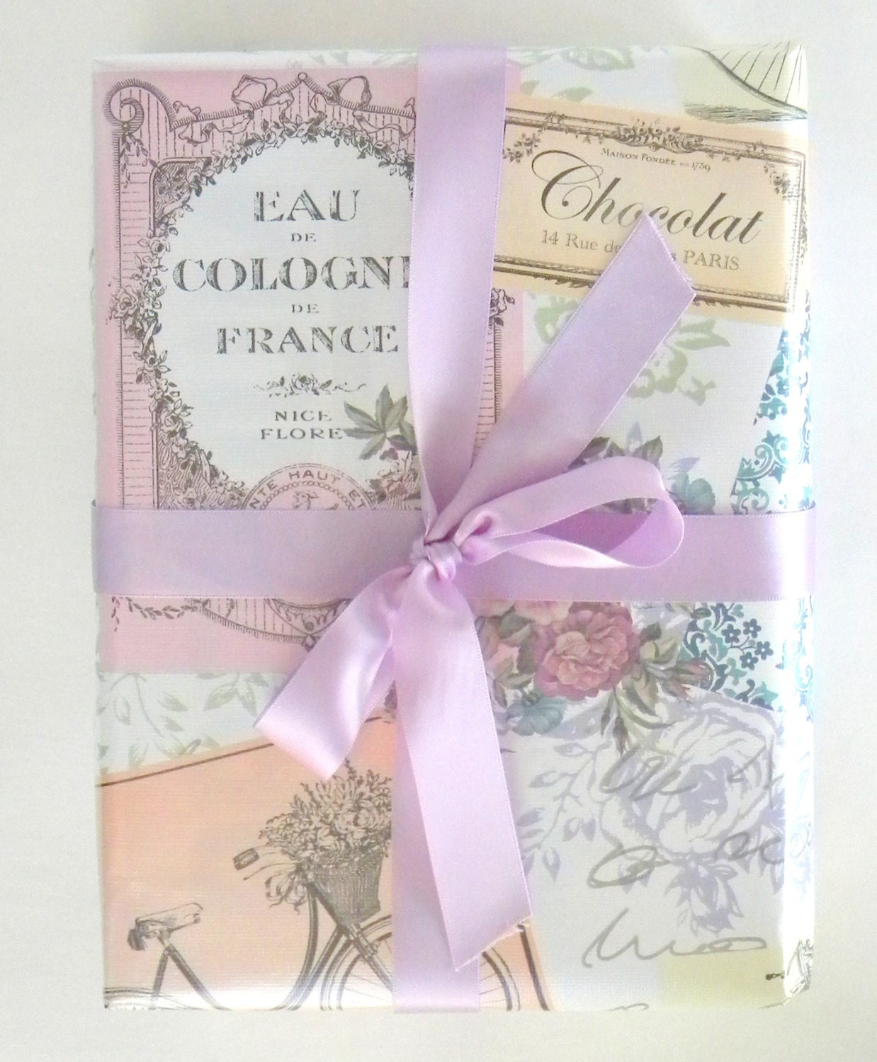 a2b38a06d3d Vintage Paris Themed Feminine Wrapping Paper 10 ft Roll with a