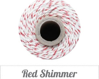 10 yards/ 9 m Red Shimmer, Metallic Red & Natural Bakers Twine,