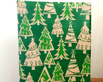 Evergreen Christmas Trees Wrapping Paper In Green and Kraft Brown, 10 ft x 2 ft. / 3.048 m. x .60 m. Roll Kraft Gift Wrap