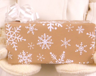 White Snowflakes on Brown Kraft Wrapping Paper, 10 ft x 2 ft. / 3.048 m. x .60 m. Roll, Rustic Christmas Gift Wrap, Country Christmas Snow