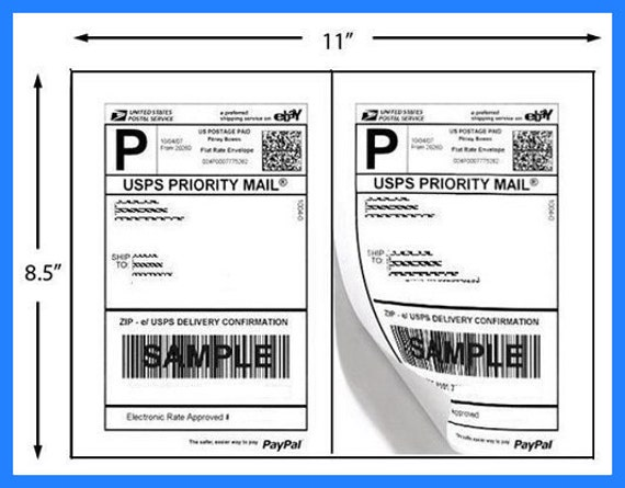 50 half page shipping labels use for etsy paypal etsy