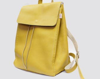 Yellow Backpack Leather Backpack Leatehr Rucksack