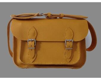 Yellow Leather satchel Medium size Leather satchel  Yellow Leather Bag Yellow Shoulder Bag