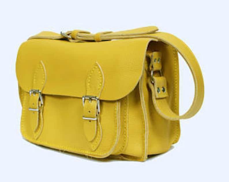 c79b96bef5b Lederen satchel middelgrote lederen satchel gele lederen tas | Etsy