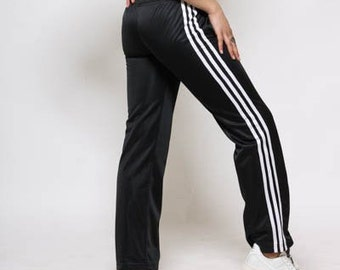 f7377fa3999 90s ADIDAS Pants  Black Track Bottoms  VINTAGE Three Stripes  Jogging  Training Activewear  Retro Sportswear  One Only
