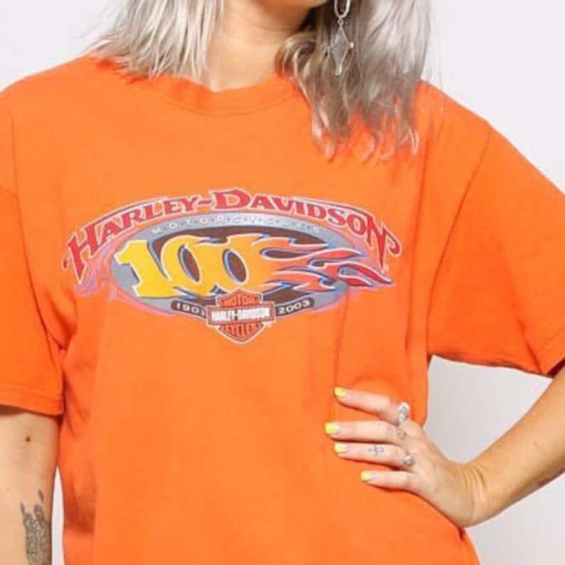 edb780f4 Orange HARLEY Davidson TShirt/ Angleton TEXAS HD Vintage Tee / | Etsy
