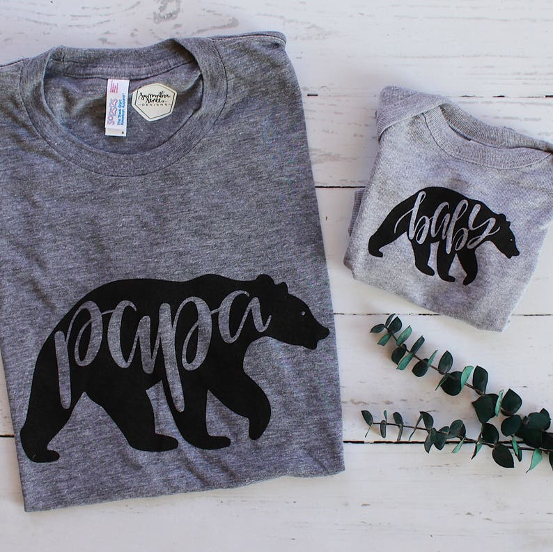 687b46a9 SET of 2 Bear Shirts | Papa Bear, Baby Bear | Hand-lettered Calligraphy Tee  and Onesie Matching Set