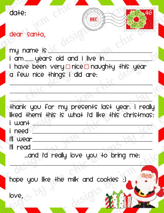 Mesmerizing image regarding santa list printable