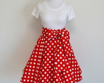 d976476c0 Minnie Style Inspired Red and White Polka Dot Circle Skirt and Matching Sash