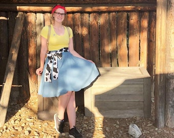 Toy Story's Woody Inspired Denim Circle Skirt and Cow Print Sash