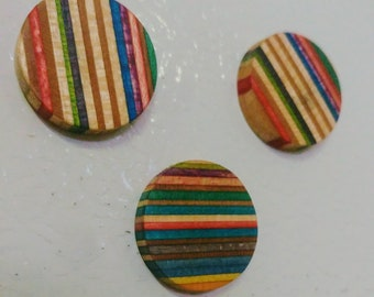 Reclaimed Skateboard Magnets - Recycled Magnets - Fridge Magnets - Magnets - Set of 3