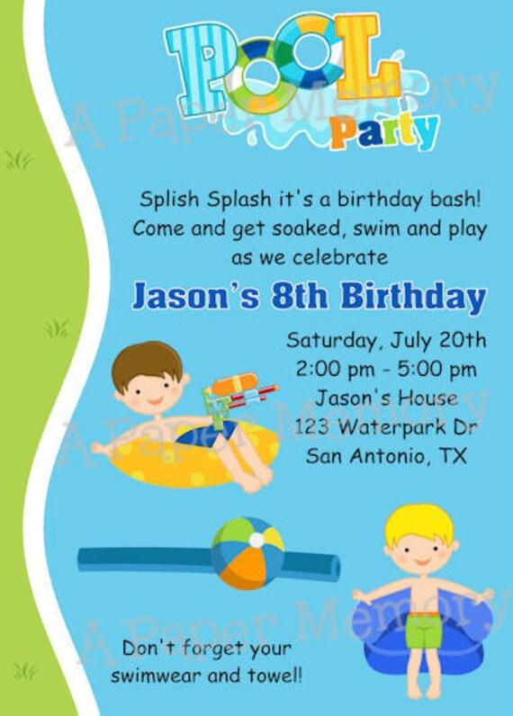 Pool Party Boys Birthday Invitation DIY Printable