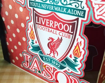 Football Pop Up Birthday Card Fathers Day Liverpool Fc Lfc Premier League Soccer Surprise