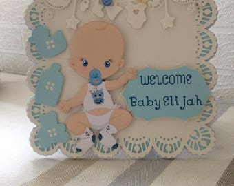 Personalised baby card, Handmade baby card, Handmade baby boy card, welcome baby, Baby shower, new baby card, baby boy card, baby 1st