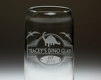 Personalized dinosaur engraved etched sandblasted glass , christmas gift , dinosaur gift , personalized dinosaur , kids gift , child gift