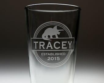 Personalized triple circle dinosaur engraved sandblasted glass , christmas gift , dinosaur gift , kids gift , child gift