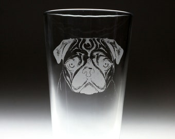 Personalized Pug dog Etched Sandblasted Pint Glass, dog gift, pug gift, christmas gift,