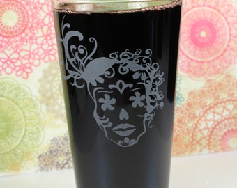 Sugar Skull Day of the Dead Girl with Curls Pint Glass