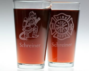Firefighter and Maltese Cross etched Pint Glass set (2 glasses) Personalized ,fireman,christmas,dad,father,uncle,brother,spouse