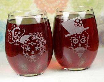 Sugar Skull Couple Set of Etched Wine Glasses (set of 2), wedding gift, couple gift, wine gift