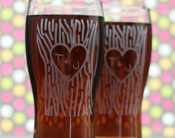 Newlywed Glasses with Heart and Initials in tree trunk (set of 2) wedding glasses, wedding flutes, toasting flutes, newlywed gift