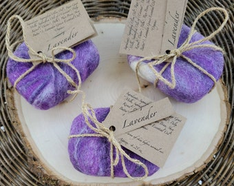 Purple Wool Covered Soap, Organic Lavender Goats Milk Soap, Natural Loofah, Felted Soap, Exfoliating Soap, Calming Soap, Father's Day Gift