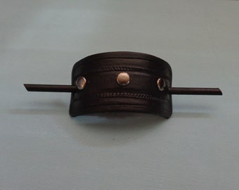 Leather Hair Slide hand tooled by Artrix Leather and Fine Art- Braided Rope with Rivets
