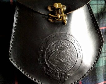 Custom Leather Sporran with Clan Crest