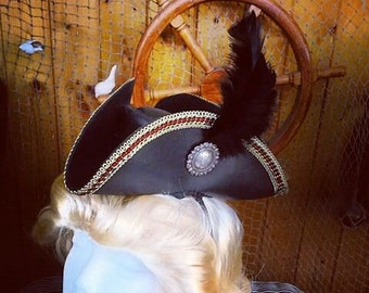 Mini Tricorn Leather Hat With lace edge, Silver and Gold Concho, Ostrich Feather and Lining by Artrix Leather and Fine Art