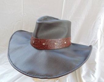 Leather Outback Style Hat with Alligator Hat Band by Artrix Leather and Fine Art